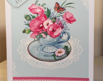 Handmade card, Greetings card, Special day, Decoupage