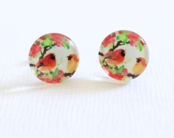 Little Red Bird stud earrings