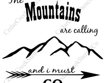 Mountain stencil etsy for The mountains are calling and i must go metal sign