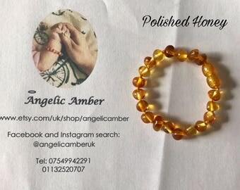 Polished Honey Baroque Baltic Amber Teething Bracelet / Anklet