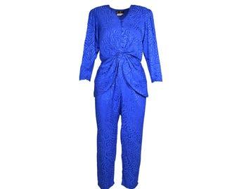 Silk Peplum Jumpsuit - Women's size 6
