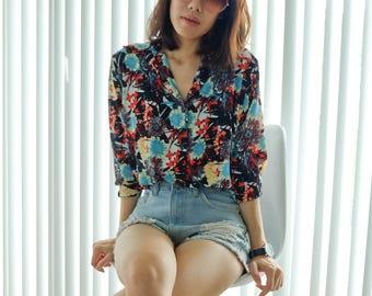 Black Floral women shirt