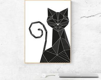 Black Cat Wall Art, Geometric Black Cat Poster, Black Cat Print, Minimalist Black Cat Poster, Cat Lover Gift, Cat Wall Decor
