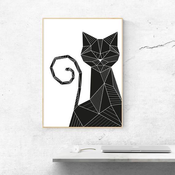 Charmant Black Cat Wall Art, Geometric Black Cat Poster, Black Cat Print, Minimalist  Black Cat Poster, Cat Lover Gift, Cat Wall Decor