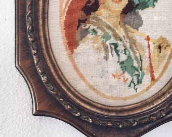 Vintage Needle Point Art / Vintage Home / Antique Decor / French Country