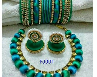 Indian silk thread jewelry set - Necklace, Jhumkas and Bangles