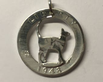Silver Quarter Dollar Cat Pendant