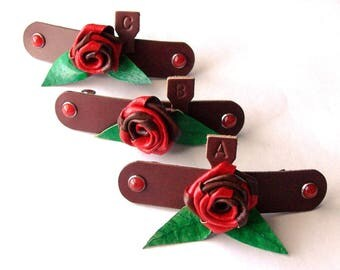 Two-Tone Rose Hair Barrettes with French Clip / leather barrette / hair accessories / handmade / Flower / FREE Shipping in USA