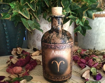 Aries. Steampunk Bottle. Gothic Bottle. Aries Bottle. Signs of the Zodiac. Zodiac Bottle. Astrology. Aries Gift. Star Sign. Aries Zodiac.
