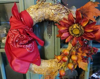 Farm and Fall Themed Straw Wreath with Red Bandanna and Artificial Foliage and Flowers
