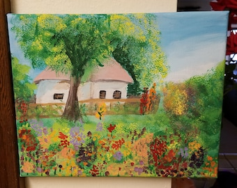 Cottage in a field of wild flowers painting