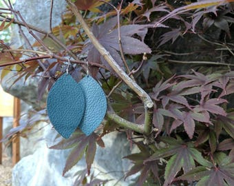 Leather Statement Earrings, Teal Leather Earrings, Lightweight Earrings, Earrings, Fall Fashion, Leather earrings, Statement Jewelry, gifts