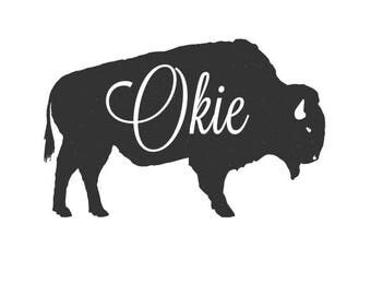 Okie Distressed Buffalo SVG