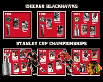 Chicago Blackhawks Stanley Cup Championships Poster 8x10 or 16x20 inches