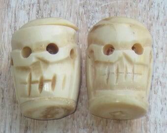 Large Bone Skull Beads/Bone Beads/Skull Beads X2