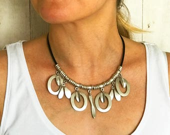 Boho Necklaces for Women Boho Gypsy Necklace Boho Chic Jewelry Silver Charms Necklace Leather Necklace Handmade Bohemian Leather Choker Gift