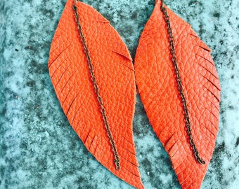 Orange Fringed Leather Feather Earrings