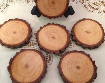Set of 6 Wood Slice Coasters