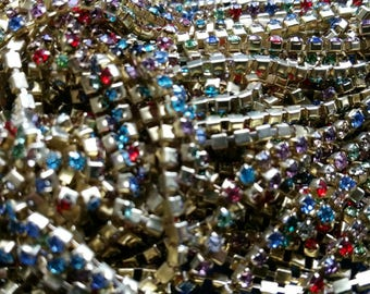 LOT de 50cm -  CHAINE GALON STRASS 2mm or multicolore  perles création bijoux