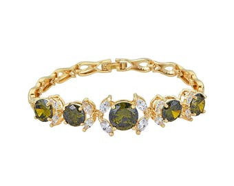 14K Gold Filled Fish Chain Bracelet with Deep Yellow Center Stone