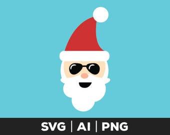 cool santa svg - christmas svg, santa face svg, holiday svg, santa claus svg, santa, santa clip art, cuttable file, xmas svg, cut file svg