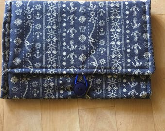 Nappy Clutch/Wallet & Travel Change Mat - Anchor/Royal Blue