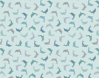 SPINDRIFT - Twirling dolphins on blue