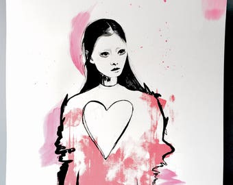 Sara Grace #2 Hand-Finished Screen Print, Fashion Illustration, Fashion Sketch, Original Art, Fashion Art, Fashion Wall Art, Fashion Gift