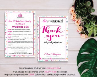 Paparazzi Thank You Card, Paparazzi Care Instruction, Personalized Information, Paparazzi Marketing, Custom Paparazzi Card, Printable PP15