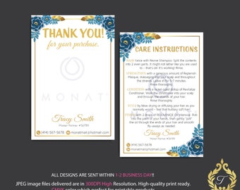 Monat Thank you cards, Monat Care Instruction, Monat Care Card, Fast Free Personalization, Custom Monat Hair Care Card, Printable file MN23