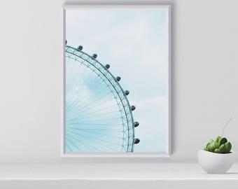 Modern Wall Art, London Eye, Modern Large Print, Digital Print, Home Decor, Gift for her