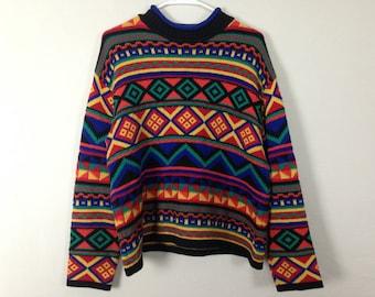90s bright cute colorful sweater size L