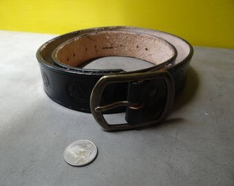 Black Leather Handmade Belt, Brass Buckle, Peace Sign Print
