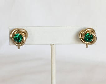 Coro Faux Emerald Earrings, Love Knot, Gold Tone, Green Rhinestones, Screwback, Vintage, 1940s