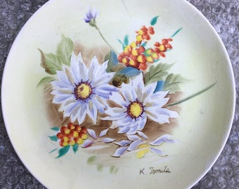 Hand Painted Floral K Tomita P-92 Plate China