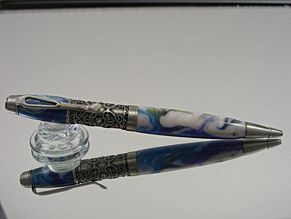Filigree Style Pen in Antique Pewter and Wild Flower Acrylic