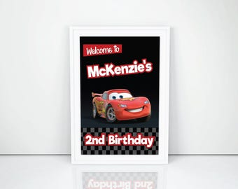 Personalized Cars 3 Lightning Mcqueen Welcome Sign Door Banner Poster Race Cars Birthday Party DIY Printable - Digital File