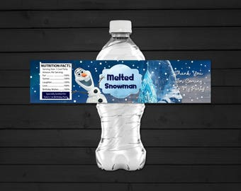 Personalized Frozen Olaf Snowman Water Bottle Label Birthday Party Baby Shower Snow Melted Snowman Printable DIY - Digital File