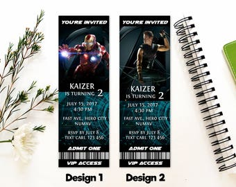 Personalized Avengers Iron Man Hawk Eye Birthday Party Admit One VIP Access Ticket Invitation Invite Printable - DIY