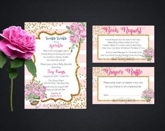 Personalized Baby Shower Sprinkle Party Invitation Book Request Diaper Raffle Watercolor Flowers Gold Confetti Printable DIY - Digital File