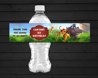 Personalized The Lion Guard Water Bottle Label  Kion Lion Bunga Beshte Fuli Ono Pride Lands Birthday Party Printable DIY - Digital File