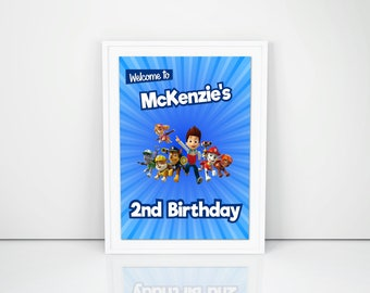 Personalized Paw Patrol Welcome Sign Birthday Party Blue Sunburst Door Banner Sign DIY Printable - Digital File