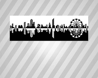 Skyline Silhouette - Svg Dxf Eps Silhouette Rld Rdworks Pdf Png Ai Files Digital Cut Vector File Svg File Cricut Laser Cut