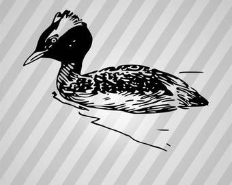 Grebe Bird Silhouette - Svg Dxf Eps Silhouette Rld RDWorks Pdf Png AI Files Digital Cut Vector File Svg File Cricut Laser Cut