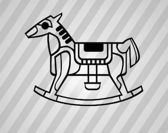 Rocking Horse Outline - Svg Dxf Eps Silhouette Rld RDWorks Pdf Png AI Files Digital Cut Vector File Svg File Cricut Laser Cut