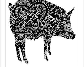 Pig Papercut Template - Svg Paper Cut Templates Stencil Line Art Henna Mandala Pdf Cut Files Digital Clip Art Drawing