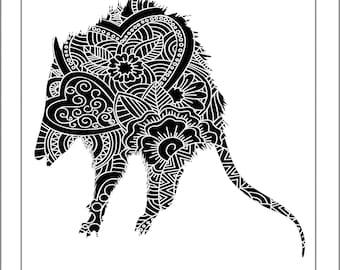 Opossum Papercut Template - Svg Paper Cut Templates Stencil Line Art Henna Mandala Pdf Cut Files Digital Clip Art Drawing