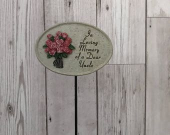 """An """"Uncle"""" Memorial Plaque on a Stick"""
