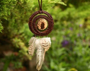 Pine needle pendant,  Dream catcher, Natural,  Boho jewelry,  Tagua, eco-friendly, Good luck gift