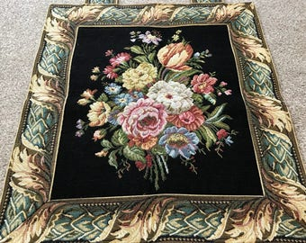 Vintage floral Tapestry Metrax wall hanging - made in Belgium 1980's